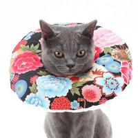 逗樂奇 貓咪頭套 伊麗莎白圈 櫻花黑色 S-適合頭圍13-24cm