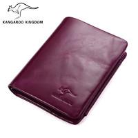 KANGAROO KINGDOM/真澳袋鼠袋鼠新款油蜡时尚短款女钱包
