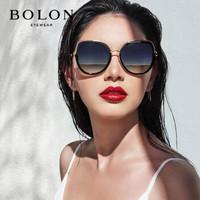 暴龙眼镜女 高清偏光太阳镜 新款安妮明星款优雅大框墨镜 BL6038 D11-镜框黑色/镜片暗黑反光