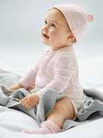 Gap 蓋璞 嬰兒 基本款純棉可愛舒適針織熊耳帽子兩件裝