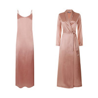 LA PERLA奢侈品女装睡衣SILK系列高贵真丝绸睡裙+睡袍套装 G195粉色 4/XL