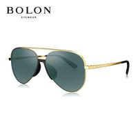暴龍眼鏡男 高清偏光太陽鏡 新款飛行員墨鏡 司機駕駛鏡 BL7030 C60-鏡框金色/鏡片綠色