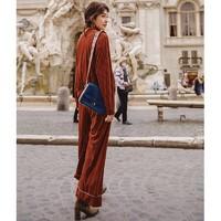 INMAN茵曼 兩件套裝 女 純色 圓領 拉鏈棒球衫寬 闊腿褲