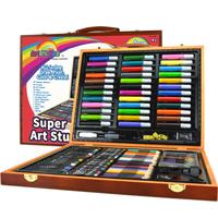 麥卡比 兒童繪畫文具木盒套裝150件 可水洗水彩筆蠟筆 *4件