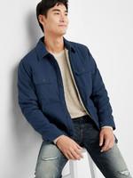 Gap 蓋璞 000349475 男裝 純色雙袋抓絨襯里襯衫式夾克