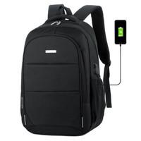 云動力 雙肩包電腦包15.6英寸 男士商務防水筆記本背包充電旅行休閑包YB-300S 黑色 黑色