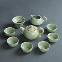 汝瓷茶具套裝陶瓷整套茶壺茶杯蓋碗辦公家用禮品套裝