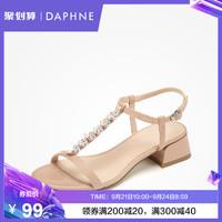 達芙妮2019夏涼鞋女甜美珍珠T字帶絨面梯形闊跟大氣純色低跟鞋