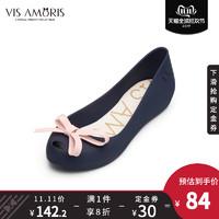 英國品牌Visamoris允莫蘇秋季新品磨砂深藍多色小蝴蝶果凍鞋女鞋
