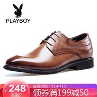 花花公子(PLAYBOY)男士商務正裝鞋子男英倫潮流圓頭D441365WA9 棕色 44