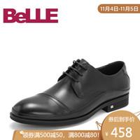 Belle/百麗婚鞋商務正裝鞋2019年春新商場同款牛皮革男皮鞋5XY01AM9 黑色 39