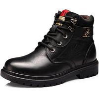 普若森(Precentor)頭層牛皮保暖男靴加絨加厚棉鞋男士戶外高幫雪地靴1901 黑色 42 *3件