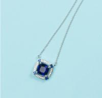 MY FASHION DESIGN S925银镶晶钻 MYN1833 蓝色几何方形项链