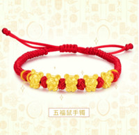 China Gold 中国黄金 十二生肖系列 生肖鼠 足金转运珠手链
