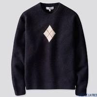 UNIQLO 优衣库 422605 女装菱形纹圆领针织衫(长袖)