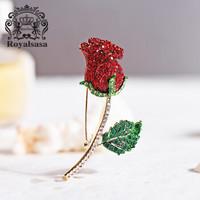 皇家莎莎(Royalsasa)胸針女紅玫瑰花朵仿水晶胸花別針 *2件