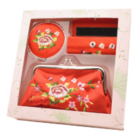 刺繡花鏡子口紅盒零錢包套裝 特色禮物送老外出國中國風商務禮品