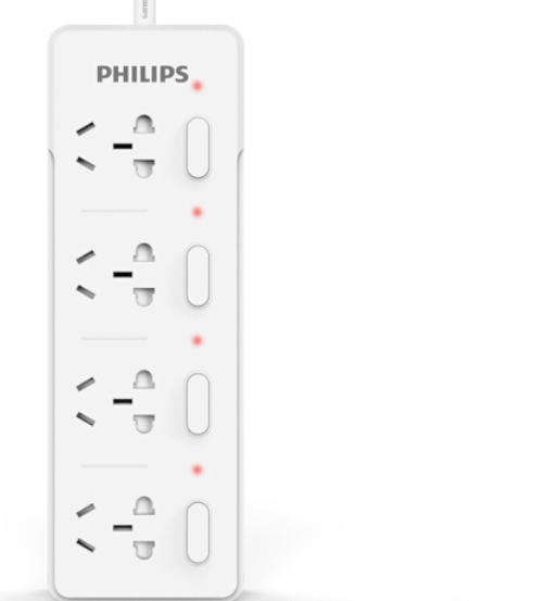 PHILIPS 飞利浦 4孔位分控 插排 插线板 1.8米