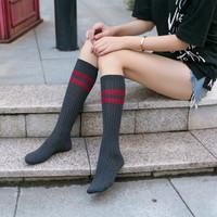 【第二件半價 三雙裝】秋冬新品小腿襪 女 日系雙針兩條杠全棉女襪 高筒不過膝學生襪子
