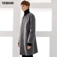TRENDIANO新男裝秋裝含羊毛立領棒球服毛呢長款大衣男3JC334617P
