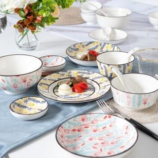 竹木本记 陶瓷碗碟套装 2人食 12件套