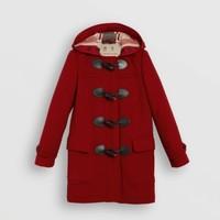 银联专享:BURBERRY 博柏利 4057518 女士红色羊毛粗呢大衣