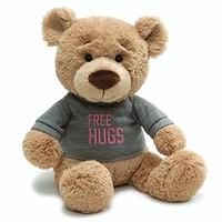 GUND 情人節自由擁抱 T 恤信息熊毛絨填充動物玩具 Free Hugs Gray 7.5 inches 粉紅色