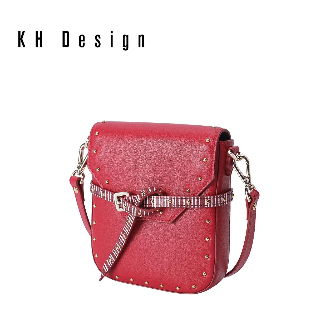 KH Design 明治 真皮小方包头层牛皮斜挎包