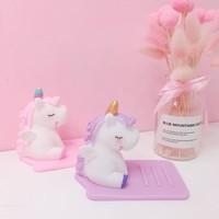獨角獸手機支架 紫/粉色可選