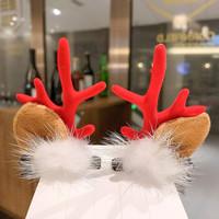 圣誕節頭飾鹿角發夾5#毛球發夾紅色