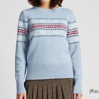 UNIQLO 优衣库 421621 女士羊毛混纺提花圆领针织衫