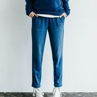 21日0点、双11预售、历史低价:UNIQLO 优衣库 419689 女士仿羊羔绒牛仔裤