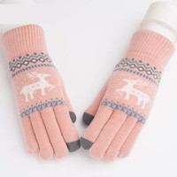 针织保暖可触屏手套 六色可选