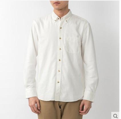 MUJI 无印良品 M9AC526 男士新疆棉法兰绒纽扣领衬衫