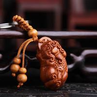 平安轉運桃木鑰匙扣平安葫蘆算盤鑰匙鏈
