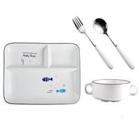 分隔盤餐廳餐具卡通餐盤套裝可愛學生餐具盤碗勺吃飯分格托盤