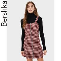 Bershka女士 2019秋冬歐美修身紅色千鳥格短款吊帶裙 08358326605