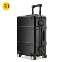 90分金屬拉桿箱 航空級鎂鋁合金登機箱 超靜音萬向輪旅行箱 黑色指紋版+刻字 20英寸 可登機