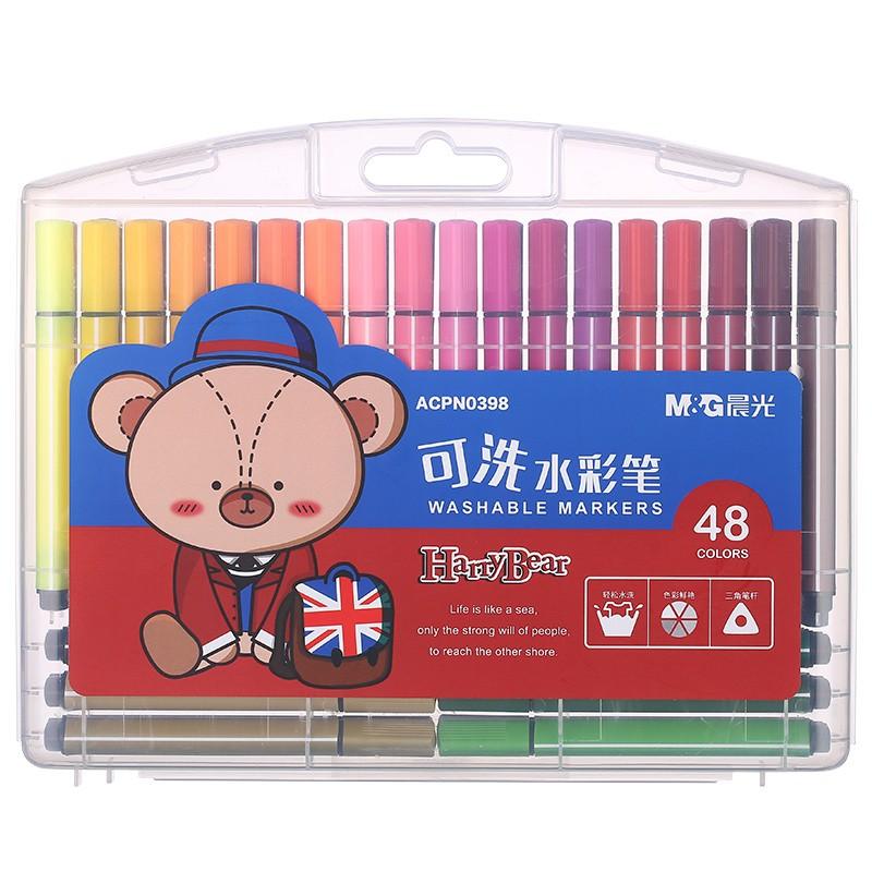 M&G 晨光 ACPN0398 小熊哈里系列 三角桿可洗水彩筆 48色
