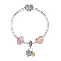 PANDORA 潘多拉Rose系列粉色閃爍琉璃珠愛之鎖心心相映串飾925銀手鏈 XZT0083-17 *2件
