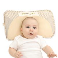 貝谷貝谷(beigubeigu)嬰兒枕頭0-1-3歲定型枕兒童護頭枕麻棉透氣新生兒寶寶用品適用 咖色禮盒裝42*24cm *2件