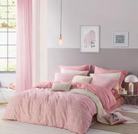 LOVO家纺  恋恋时光 水洗四件套 粉色  1.8米床(被套220x240cm)