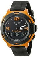 Tissot 男式 T0814209705703 競速系列觸摸模擬顯示屏,瑞士石英表,黑色