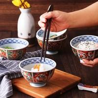 Mino Yaki 美浓烧 手工彩瓷碗 4.5英寸 5只装+5对筷子