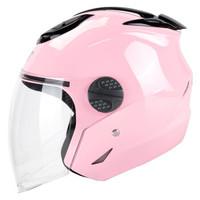 DOT 601粉色  電動摩托車頭盔男冬季防曬電瓶車頭盔女士輕便半覆式四季安全帽半盔冬盔 均碼