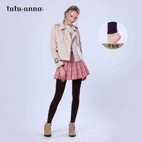 tutuanna打底褲女秋冬保暖 日系純色 里起毛 打底褲襪加絨 200D