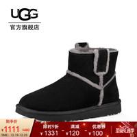 UGG 2019秋冬女士雪地靴經典新奇系列溢毛休閑短靴 1100211 BLK | 黑色 37