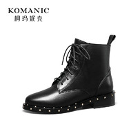 柯瑪妮克 冬季新款馬丁靴女英倫風中跟女靴子 牛皮粗跟短靴馬丁靴