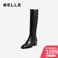 百麗粗高跟筒靴2019冬新商場同款牛皮革女皮長靴U6D3DDG9