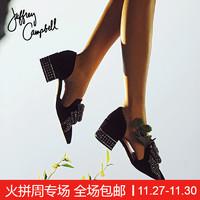Jeffrey Campbell純色串珠蝴蝶結韓版女明星走秀簡約單鞋新款